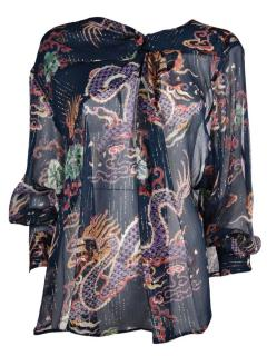 Isabel Marant Debby midnight ruffle silk blend top