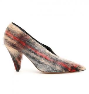 Celine multicolored check mohair pointed pumps