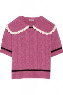 Miu Miu pink wool cable-knit sweater