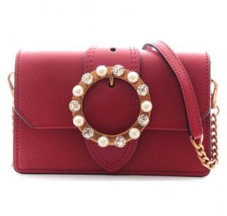 Miu Miu Red Leather Crystal & Faux Pearl Buckle Shoulder Bag