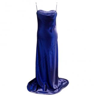 Amanda Wakeley Bias blue silk gown