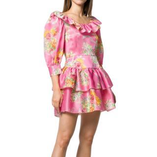 Alessandra Rich Pink Floral Print Ruffled Mini Skirt