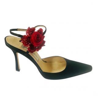 Jimmy Choo Black Satin Rose Applique Slingback Sandals