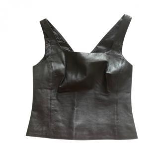 Donna Karan Signature Vintage Leather Sleeveless Top