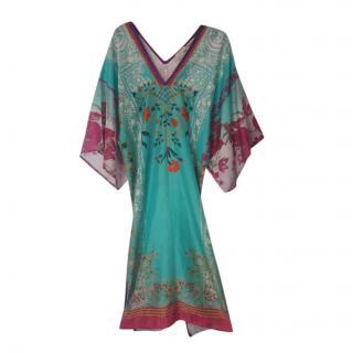 Etro Blue Floral Print Silk Kaftan