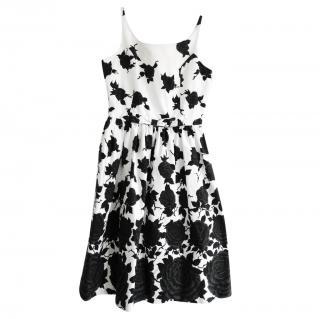 J&M Davidson Black & White Rose Print Sleeveless Dress