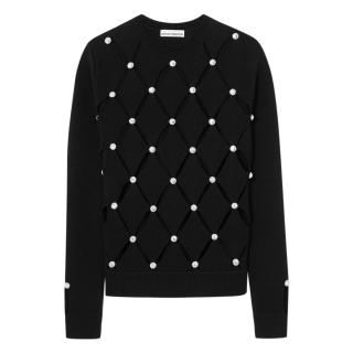 Paco Rabbane Crystal Embellished Cut-Out Merino Wool Jumper