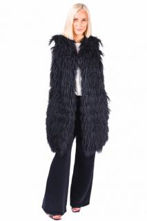 FurbySD black Tibetan lamb fur gilet