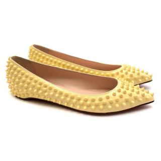 Christian Louboutin Yellow Patent Pigalle Spike Ballerinas