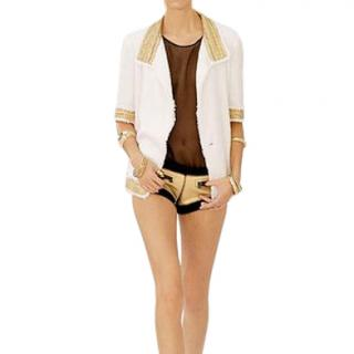 Chanel Ecry Gold Embroidered Chain Detail Jacket