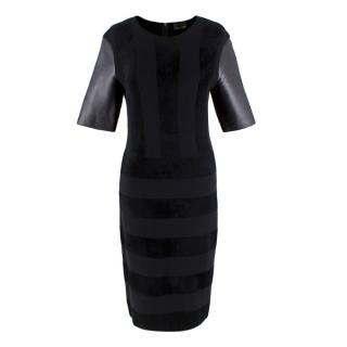 Fendi Black Wool Blend Striped Dress with Leather Sleeves