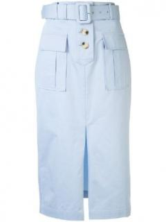 Self-Portrait Baby Blue Belted Midi Skirt