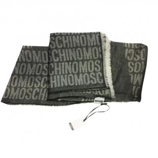 Moschino Grey Logo Lightweight Cashmere & Silk Blend Shawl