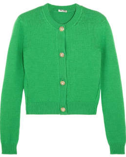 Miu Miu Green Cashmere Short Cardigan with Crystal Buttons