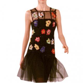 Chanel Floral Embroidered Embellished Tulle Runway Dress