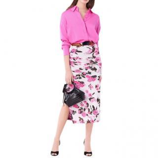 Diane von Furstenberg Leanna stretch-silk pink shirt