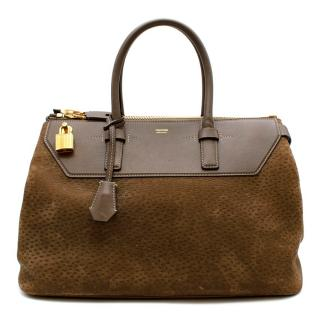 Tom Ford Textured Suede & Leather Brown Tote Bag