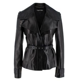 Tom Ford Black Soft Leather Belted Jacket