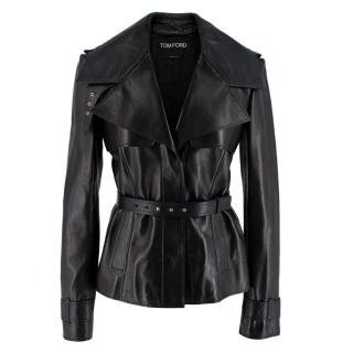 Tom Ford Black Soft Leather Belted Jacket