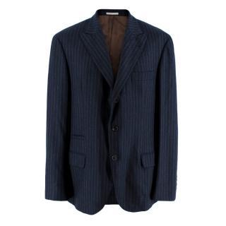 Brunello Cucinelli Mens Pinstripe Navy Tailored Jacket
