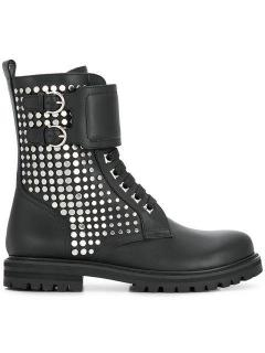 Salvatore Ferragamo studded military black leather boots