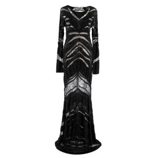 Roberto Cavalli Embroidered Black Lace Paneled Gown