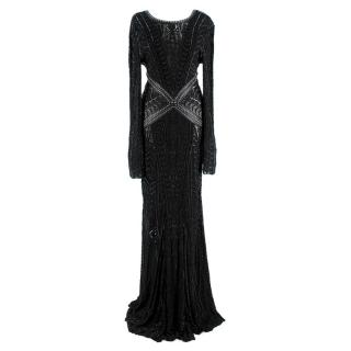 Roberto Cavalli Black Embroidered & Embellished Leather Detailed Gown