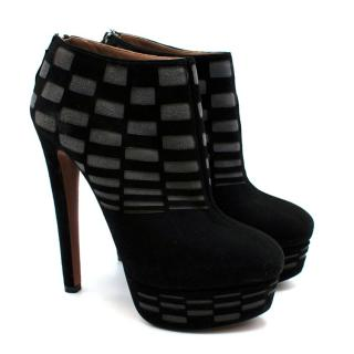 Alaia Suede Black & Grey Check Platform Boots
