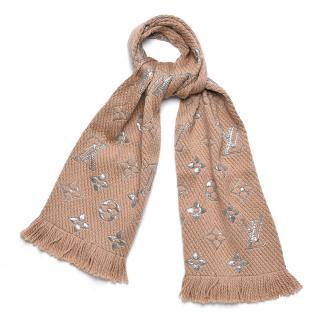 Louis Vuitton Logomania beige & silver wool blend scarf