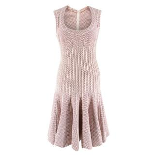 Alaia Pink & White Embroidered Knit Skater Dress