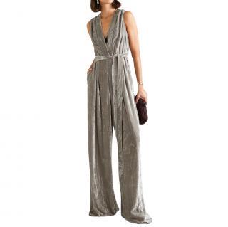 Bottega Veneta grey belted velvet jumpsuit
