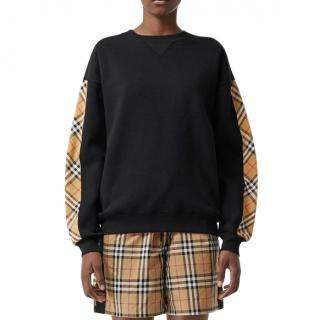 Burberry black & beige check detail sweatshirt