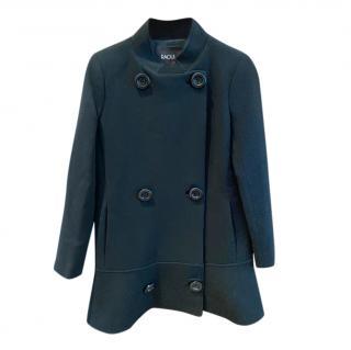 Raoul black wool ruffle hem coat