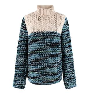Missoni Turtle Neck Thick Knitted Blue Jumper