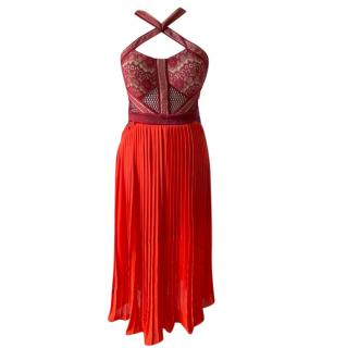 Three Floor burgundy & red lace mid-length dress