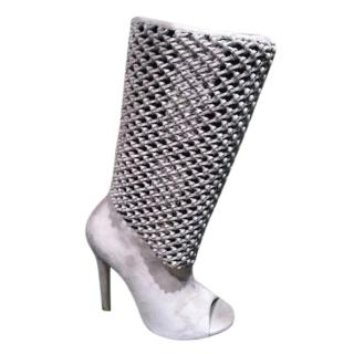 Jimmy Choo 124Ballet grey slouch perforated peep toe boots
