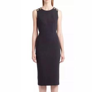 Dolce & Gabbana black & gold button detail midi dress