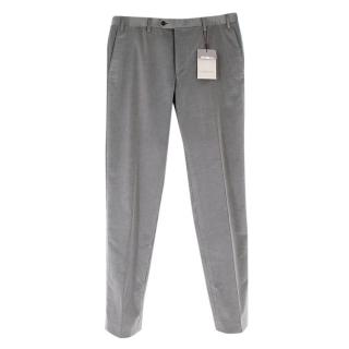 Corneliani Grey Corduroy Men's Tailored Trousers