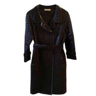Prada Black Quilted Nylon Wrap Coat