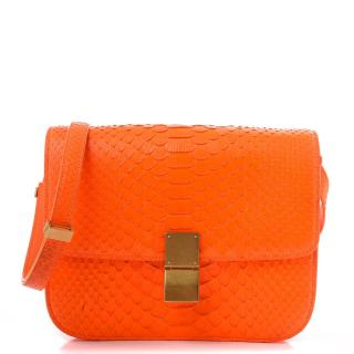 Celine Orange Python Classic Box Bag