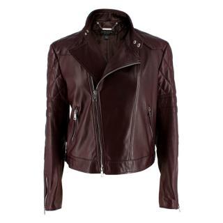 Ralph Lauren Black Label Burgundy Leather Biker Jacket