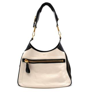 Tom Ford Black & White Leather Zip Around Shoulder Bag