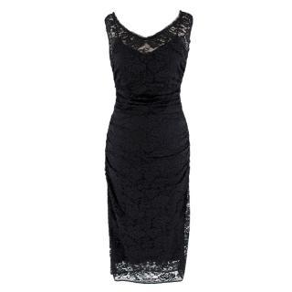 Dolce & Gabbana Black Lace Ruched Sleeveless Dress