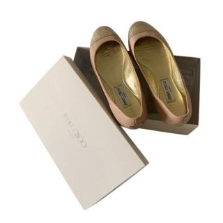 Jimmy Choo Two Tone Leather Ballerinas