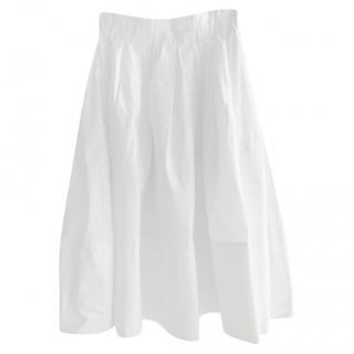 Fendi White Cotton Lightweight A-Line Skirt