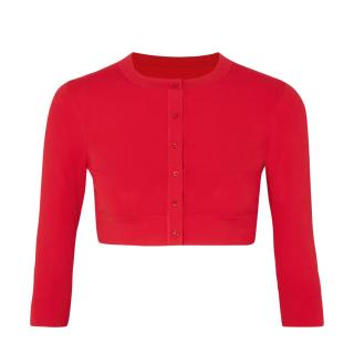 Alaia Red Classic cropped stretch-knit cardigan