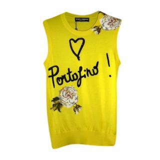 Dolce & Gabbana Yellow Embellished Portofino Vest