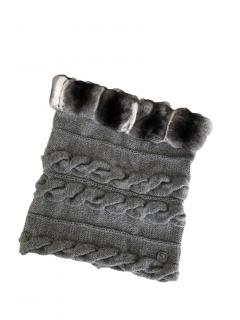 FurbySD grey chinchilla fur & merino wool snood