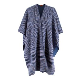 Missoni Blue Cashmere & Wool Striped Knit Poncho