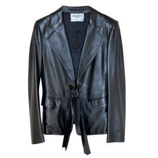 Yves Saint Laurent black leather belted jacket